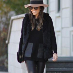 J. Crew black leather pocket sweater